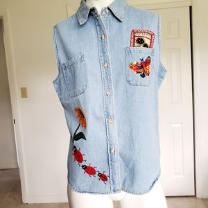 The Blues sleeveless denim top embroidered sz. L